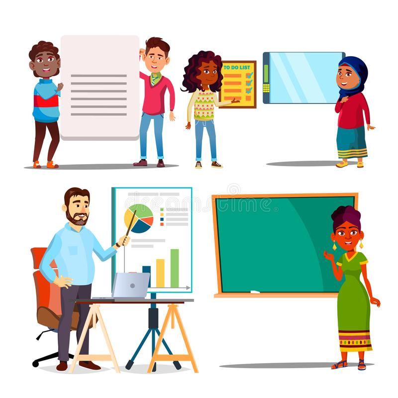 Character Explain Educational Material Set Vector. Teacher Woman Standing Near Blackboard, Man Show Presentation With Graphics. Children Explain Text Meaning vector illustration