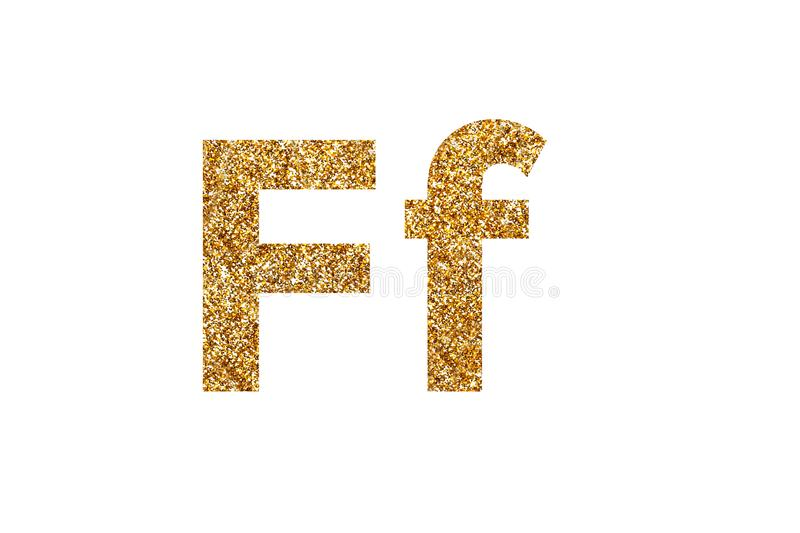 Character F. English alphabet. Isolated on white background. Character F. Letters and Numbers from golden grains of sand. English alphabet. Isolated on white stock images