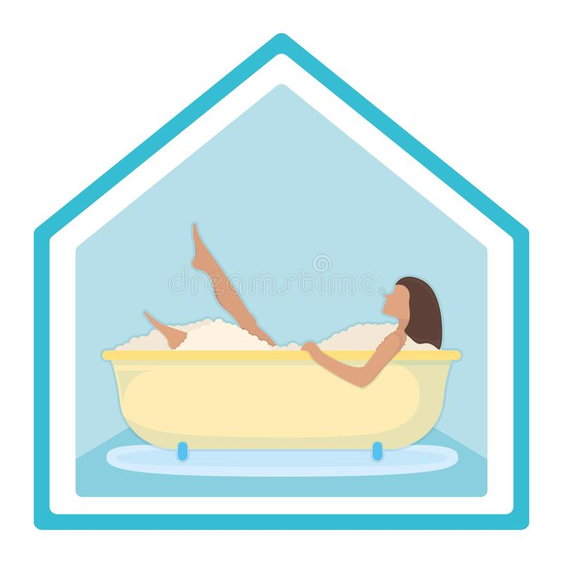 Character female lie in bathroom, washroom foam, relaxing in bath isolated on white, flat vector illustration. Stay at home. Spending time at household stock illustration