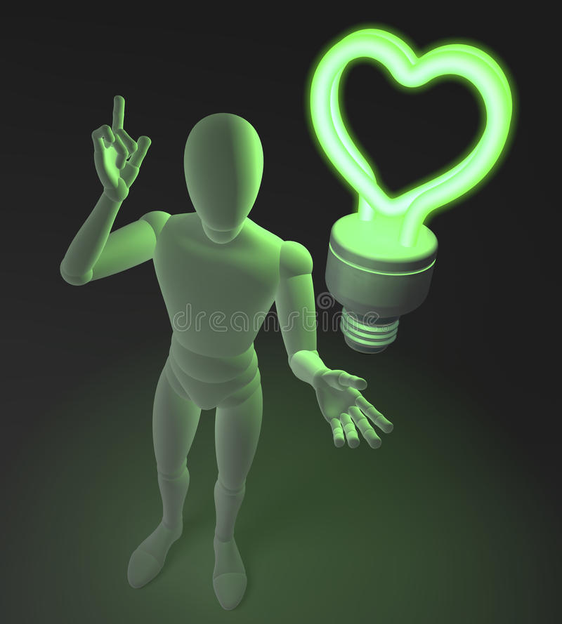 Free Character, Figure, Man Having A Love Idea Depicted By Heart Shaped Green Neon, Fluorescent Light Bulb Royalty Free Stock Photography - 42305567