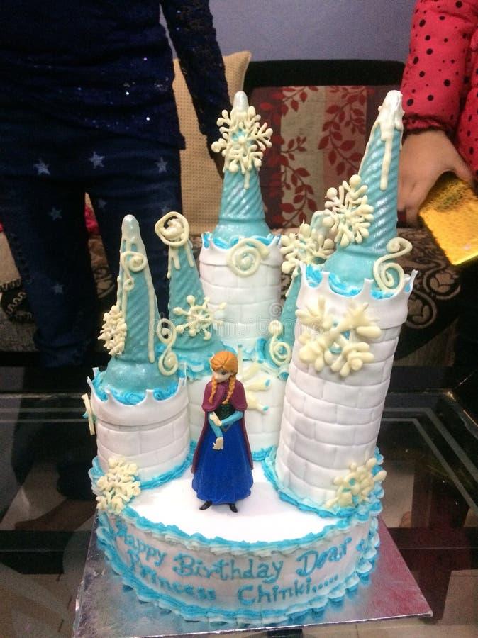 Fondant cake. Character from frozen castle shape frozen stock image