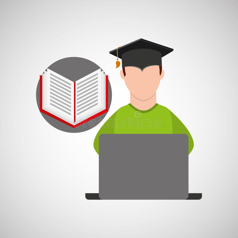 Character graduation e-learning online education vector illustration
