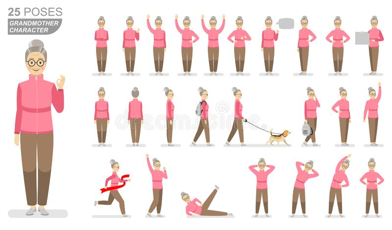 Character grandmother in a pink sports sweater and brown pants in various poses on a white background. vector illustration