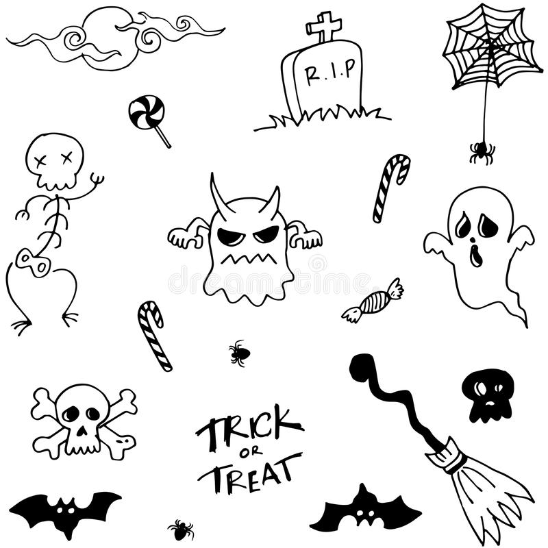 Character Halloween Doodle Set Stock Vector - Illustration: 73257351