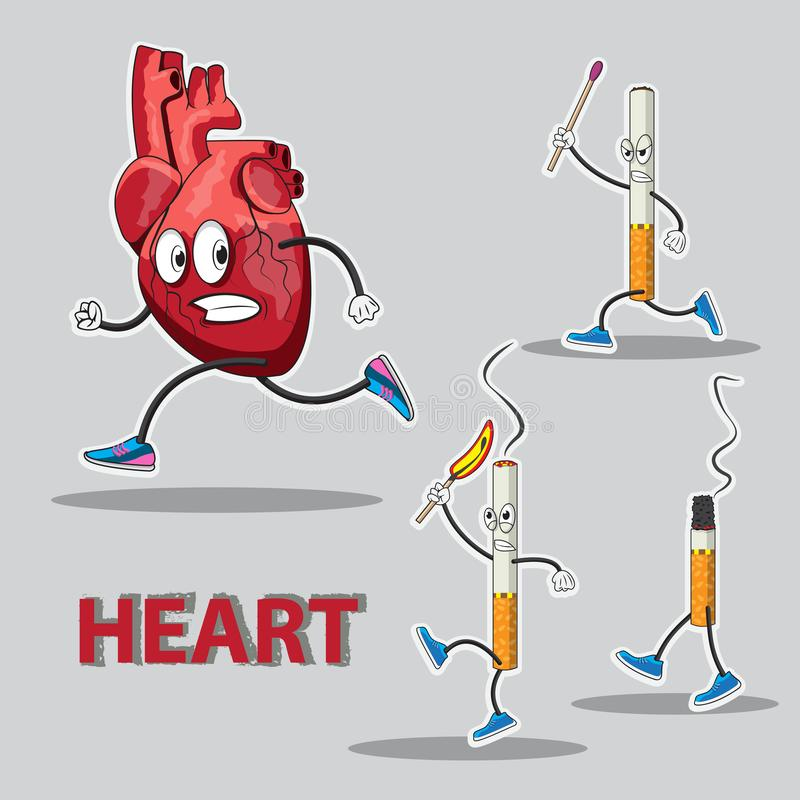 Character heart runs after him chasing cigarettes with matches in his hands. Vector image. Eps stock illustration