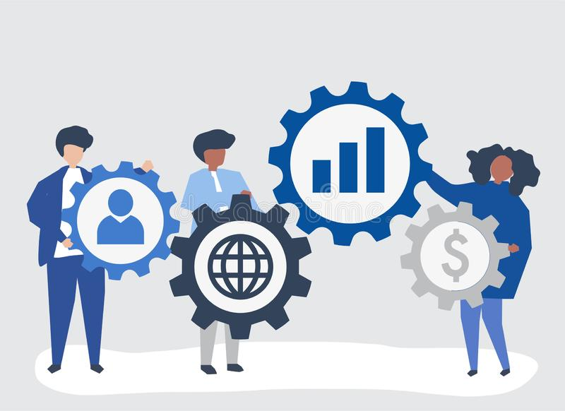 Character illustration of business people holding strategy icons stock illustration
