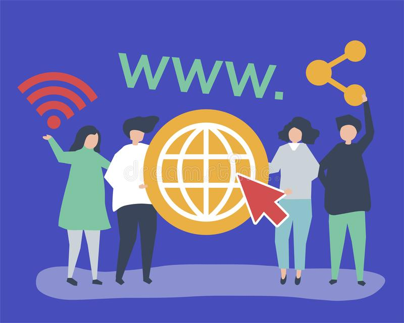 Character illustration of people holding world wide web icons vector illustration