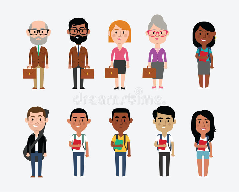 Character Design Career : Character illustrations depicting occupations in education