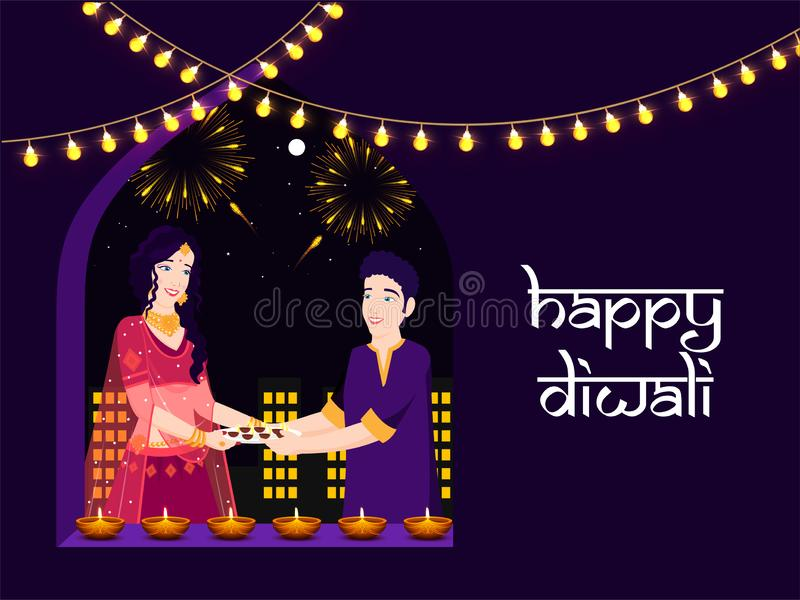 Character of Indian couple holding oil lamp for celebrating Diwali Festival. royalty free illustration