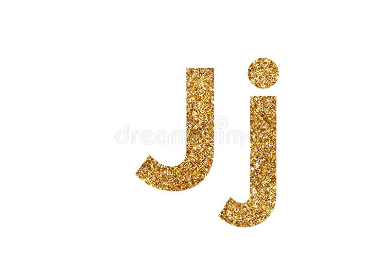 Character J. English alphabet. Isolated on white background. Character J. Letters and Numbers from golden grains of sand. English alphabet. Isolated on white stock photo