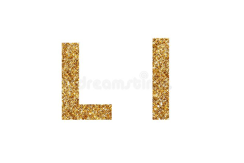 Character L.  English alphabet. Isolated on white background. Character L. Letters and Numbers from golden grains of sand. English alphabet. Isolated on white stock photos