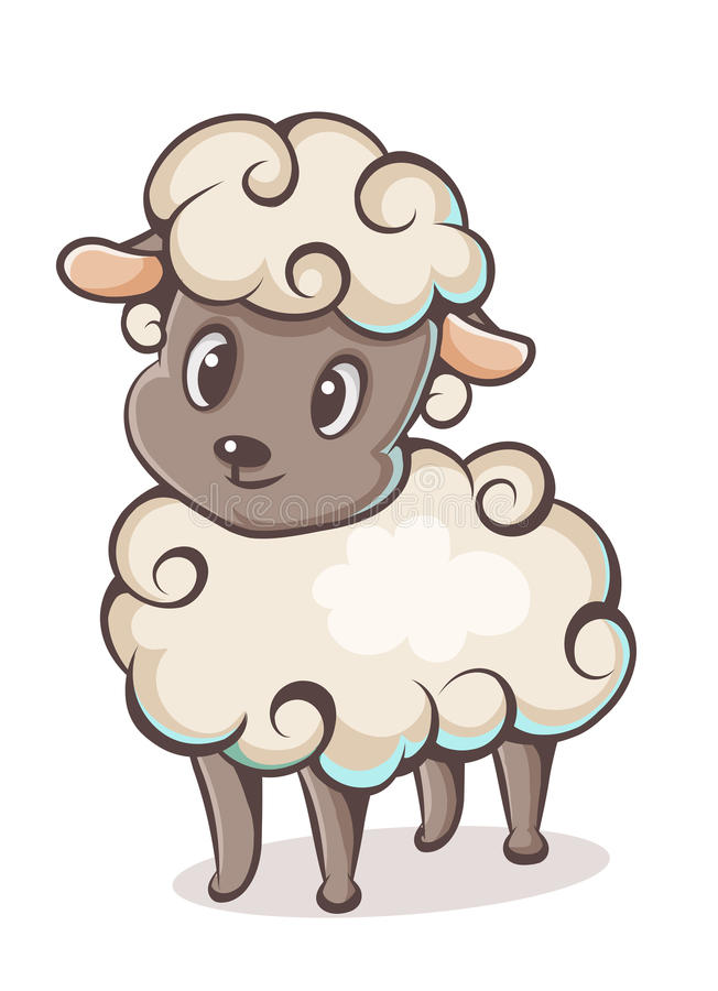 Character lamb. Colored lamb character on a white background stock illustration