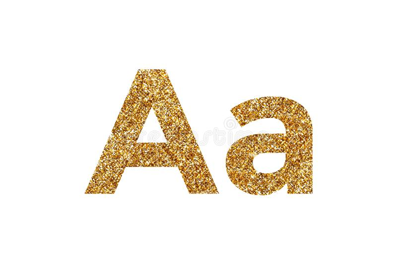 Character A.  English alphabet. Isolated on white background. Character A. Letters and Numbers from golden grains of sand. English alphabet. Isolated on white royalty free stock photography