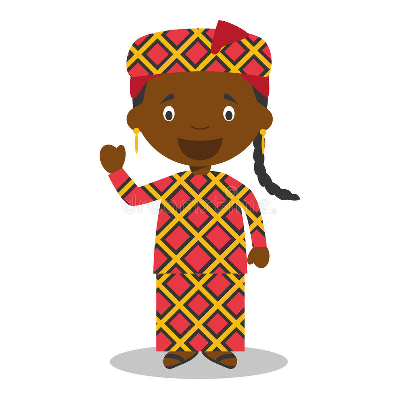 Character from Mali or Central Africa dressed in the traditional way. Vector Illustration. Kids of the World Collection stock illustration