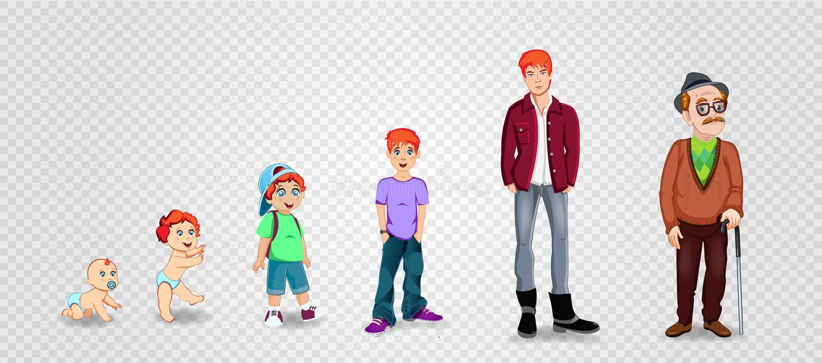 Character man in different ages. Baby, child, teenager, adult, elderly person. The life cycle. Generation of people and stages of growing up. Vector royalty free illustration