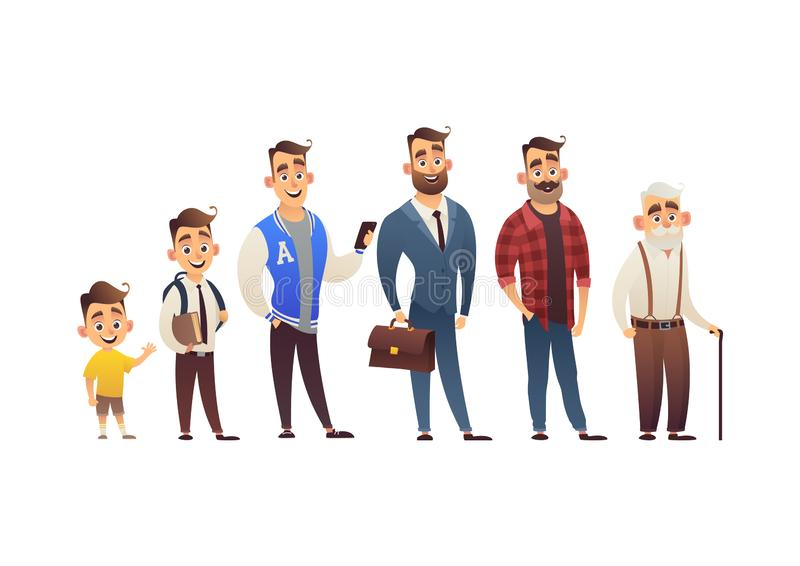 Character of man in different ages child teenager adult elderly person life cycle generation of people stock illustration