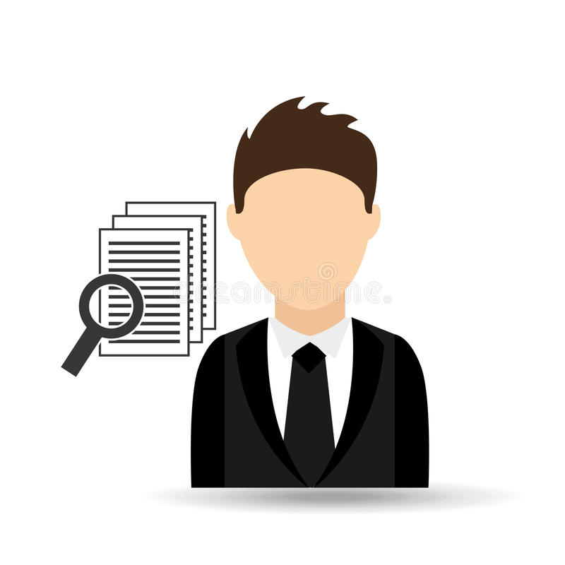 Character man with document search design. Illustration eps 10 royalty free illustration