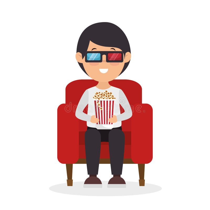 Character man sitting watch 3d movie with pop corn stock illustration