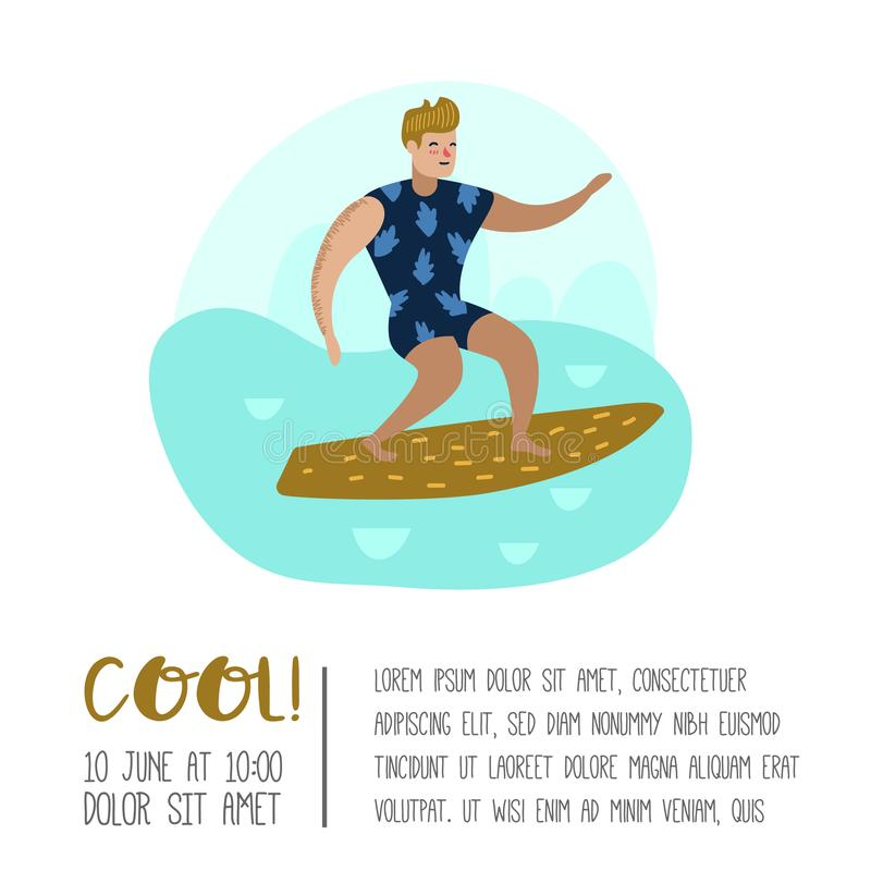 Character Man Surfing at the Beach Poster, Banner, Brochure. Guy Cartoon Surfer. Water Sport Concept royalty free illustration