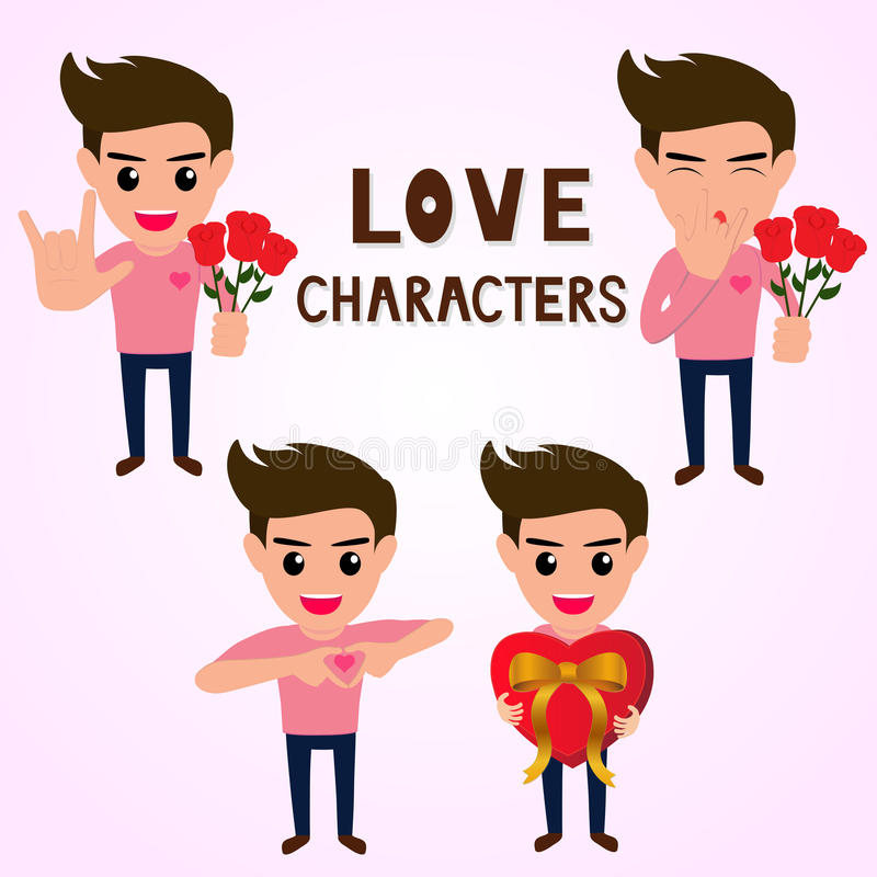 Character of man in various poses about love, making hand sign I love you. Give a gift.Vector Illustration royalty free illustration