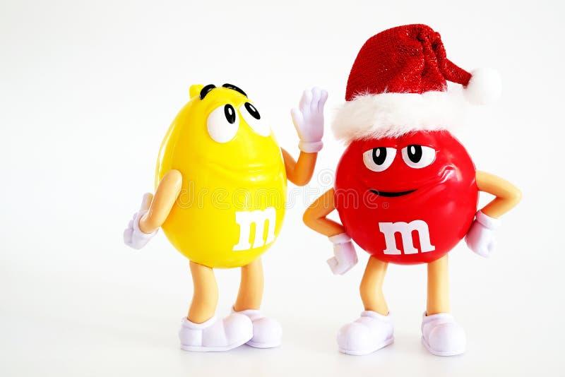 Character mascot of chocolate brand m&m`s stock photos