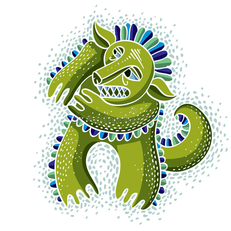 Character monster vector flat illustration, cute green mutant. D. Rawing of weird beast, emotional expression vector illustration