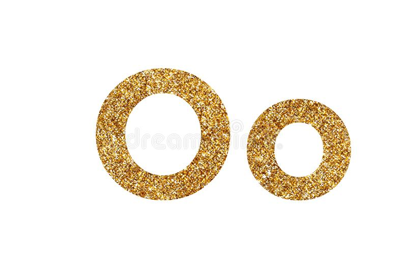 Character O. English alphabet. Isolated on white background. Character O. Letters and Numbers from golden grains of sand. English alphabet. Isolated on white royalty free stock photos