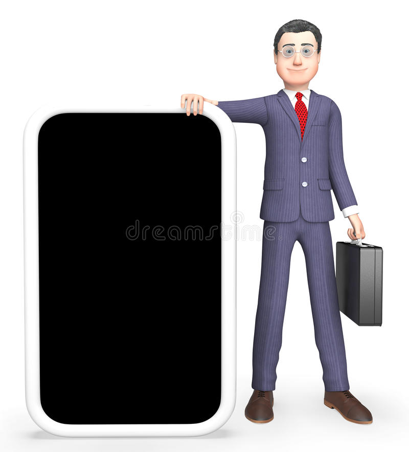 Character Online Indicates World Wide Web And Blank 3d Rendering. Online Copyspace Showing World Wide Web And Business Person 3d Rendering royalty free illustration
