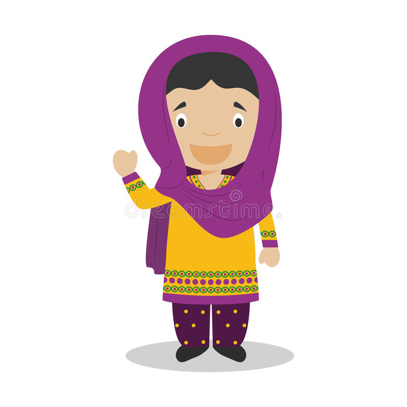 Character from Pakistan dressed in the traditional way. Vector Illustration. Kids of the World Collection royalty free illustration