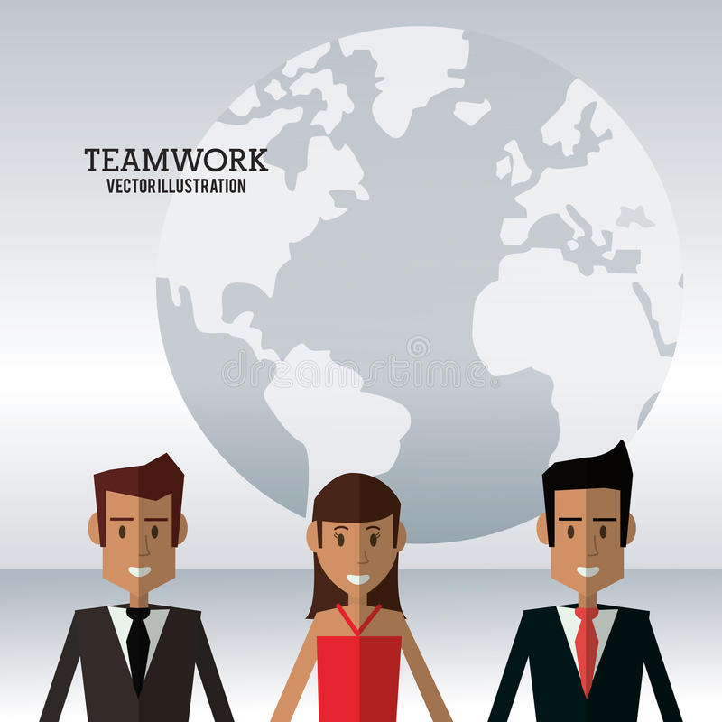 Character people teamwork globe work royalty free illustration