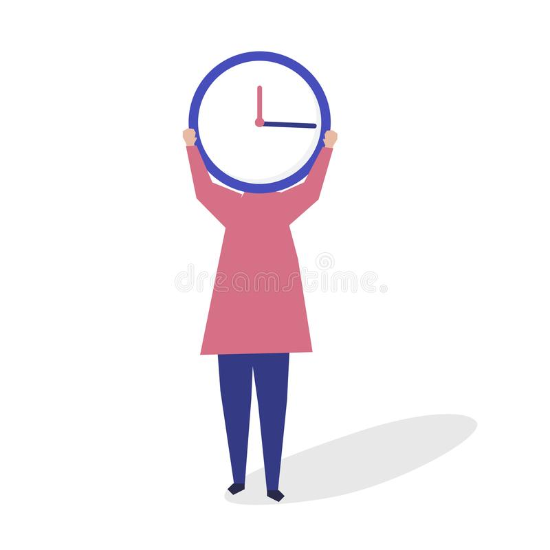 Character of a person with a clock as a head illustration royalty free illustration
