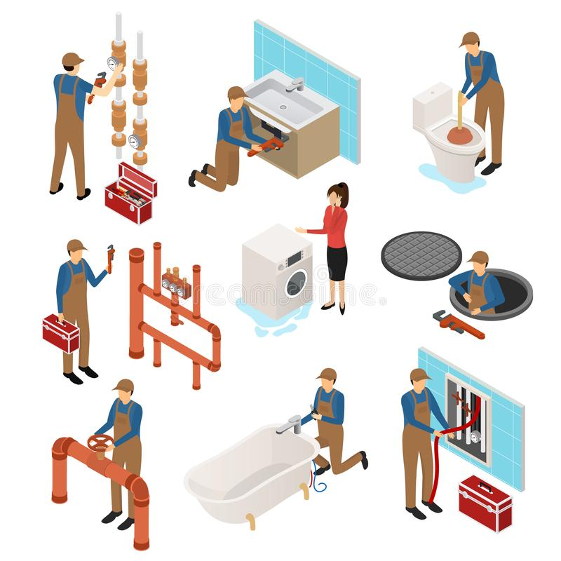 Character Plumber in Uniform 3d Icon Set Isometric View. Vector stock illustration