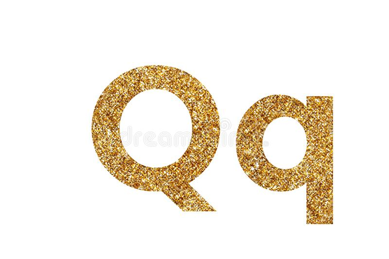 Character Q.  English alphabet. Isolated on white background. Character Q. Letters and Numbers from golden grains of sand. English alphabet. Isolated on white stock photo