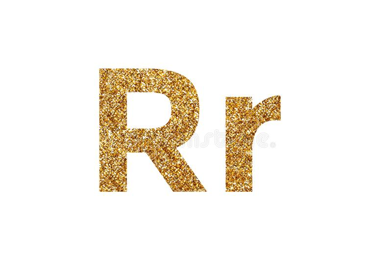 Character R.  English alphabet. Isolated on white background. Character R. Letters and Numbers from golden grains of sand. English alphabet. Isolated on white stock photos