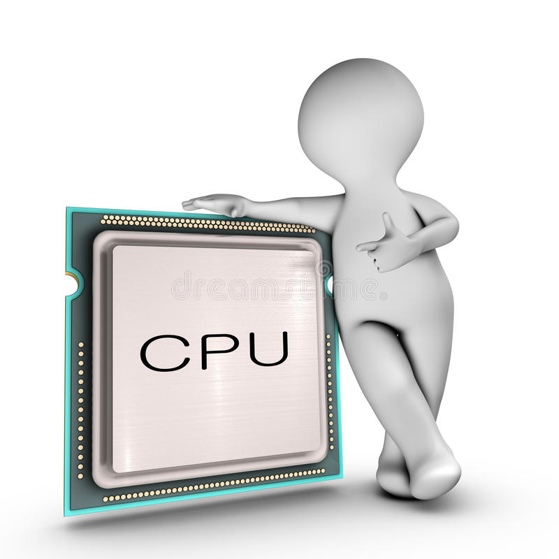 Download A Character Relies On A Powerful CPU (Central Proc Stock Illustration - Image: 23517610