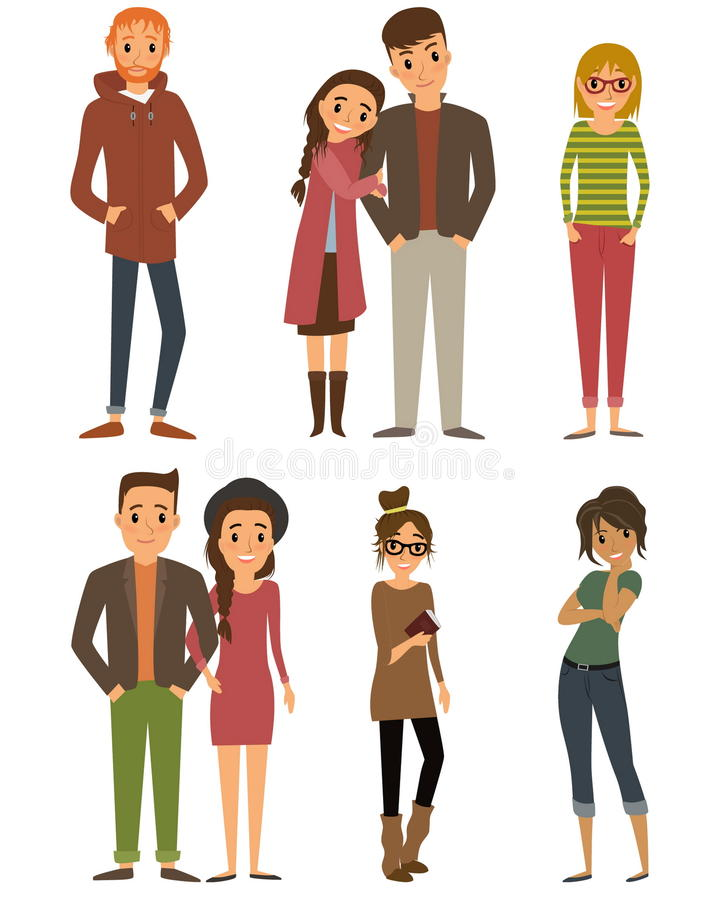 Flat Design Character Download : Character set with flat design style stock vector
