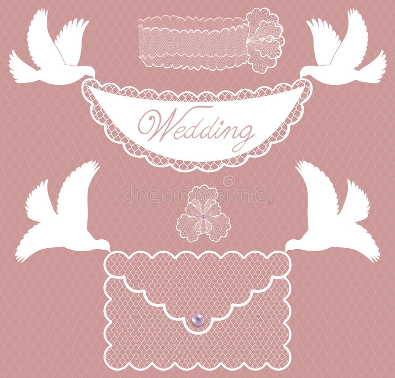 Character set wedding with doves stock illustration