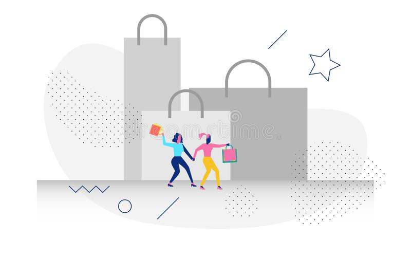 Character in shopping concept illustration. Happy modern character in shopping concept illustration for web banner, flyer, landing page, presentation, book cover royalty free illustration