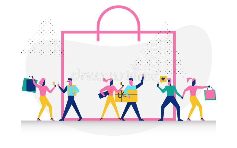 Character in shopping concept illustration. Happy modern character in shopping concept illustration for web banner, flyer, landing page, presentation, book cover stock illustration