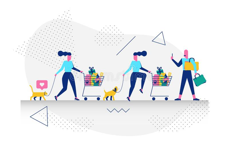 Character in shopping concept illustration. Happy modern character in shopping concept illustration for web banner, flyer, landing page, presentation, book cover vector illustration