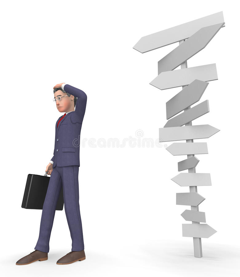 Character Signposts Shows Businessman Executive And Commercial 3d Rendering. Character Signposts Indicating Business Confused And Decision 3d Rendering stock illustration