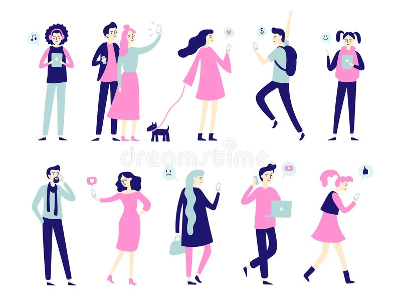 Character with smartphone. Smartphones in people hands, man talk on mobile phone or woman taking selfie. Flat characters royalty free illustration