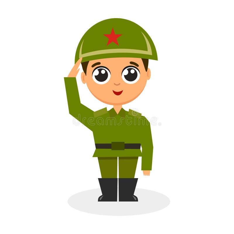 Character soldier in helmet vector illustration