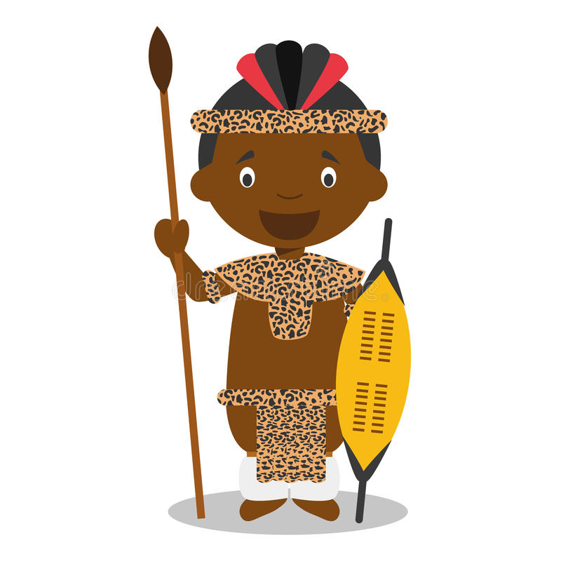 Character from South Africa. Zulu boy dressed in the traditional way of the Zulu tribe. Vector Illustration. Kids of the World Collection vector illustration