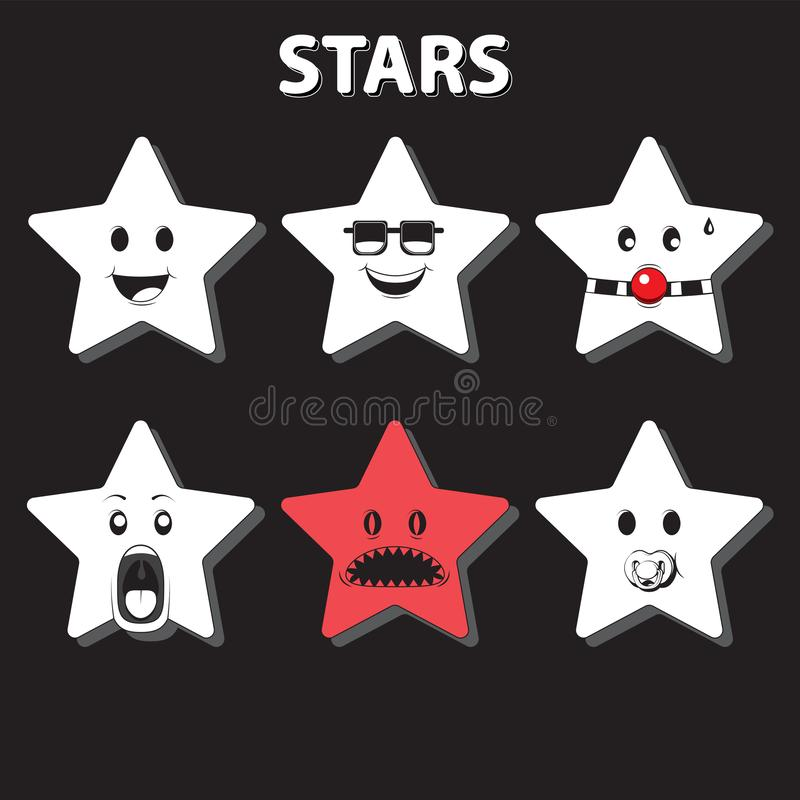 Character star, six emotions, cartoon. Black and white, decorative decoration, sticker. Vector image royalty free illustration