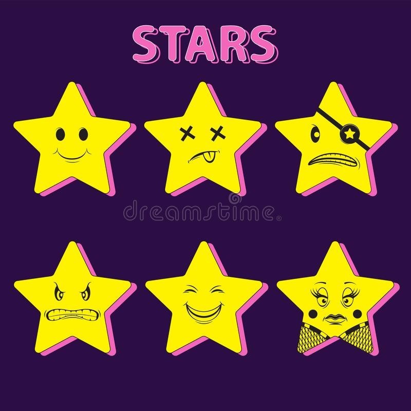 Character star yellow set of 6 pieces. Sticker decorative element illustration. Vector image royalty free illustration
