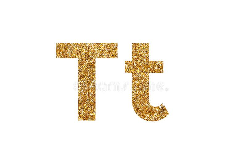 Character T. English alphabet. Isolated on white background. Character T. Letters and Numbers from golden grains of sand. English alphabet. Isolated on white royalty free stock photography