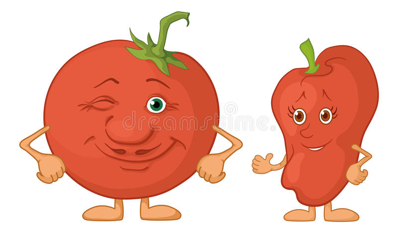 Character Tomato And Pepper Stock Image