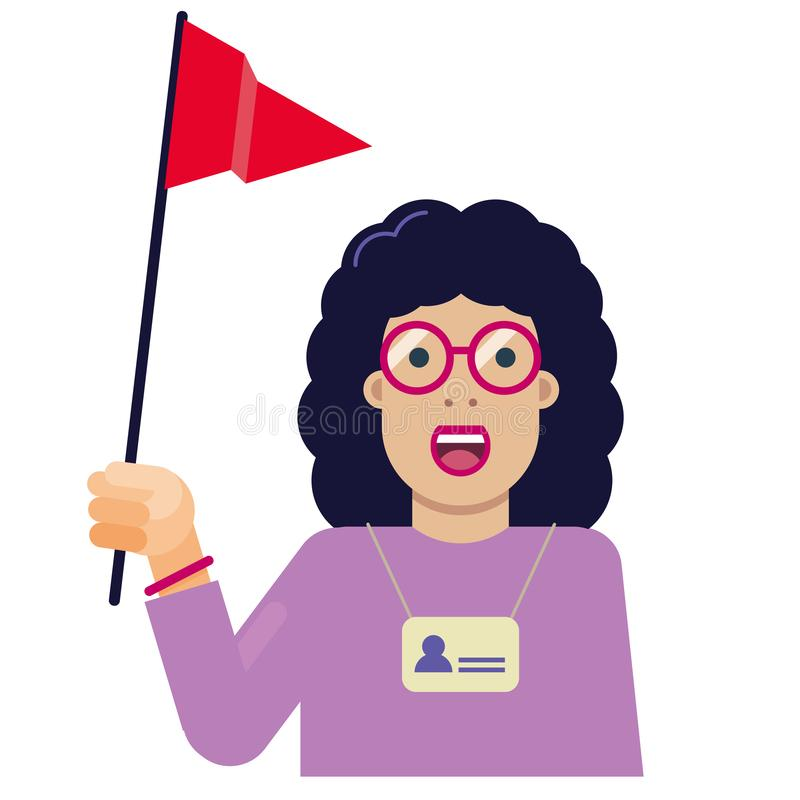 Tourist guide flat icon with red flag stock illustration
