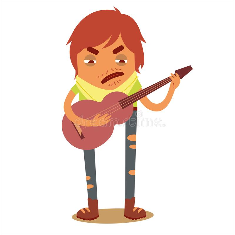 Character Traveler 3 with a guitar royalty free stock photos